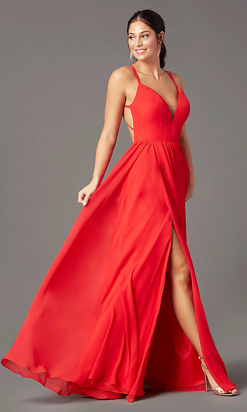 Image of formal v-neck a-line long prom dress by PromGirl. Style: PG-F2006 Front Image