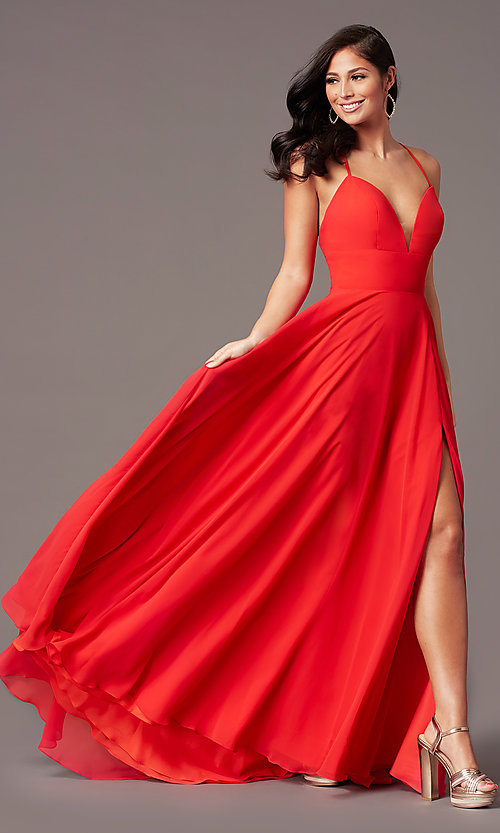 Image of a-line long chiffon formal prom dress by PromGirl. Style: PG-F2007 Front Image