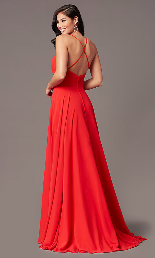 Image of a-line long chiffon formal prom dress by PromGirl. Style: PG-F2007 Back Image