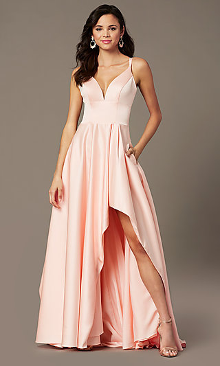 High-Low Long V-Neck Prom Dress by PromGirl