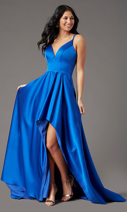 Image of high-low v-neck long prom dress by PromGirl. Style: PG-F2016 Front Image
