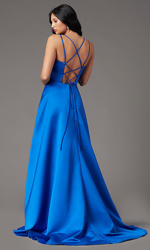 Image of high-low v-neck long prom dress by PromGirl. Style: PG-F2016 Back Image