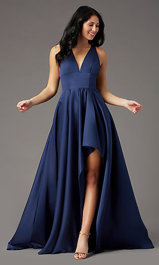 V-Neck High-Low PromGirl Prom Dress with Pockets