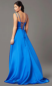 Image of open-back high-low formal prom dress by PromGirl. Style: PG-F2018 Detail Image 2