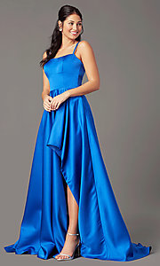Image of open-back high-low formal prom dress by PromGirl. Style: PG-F2018 Detail Image 4