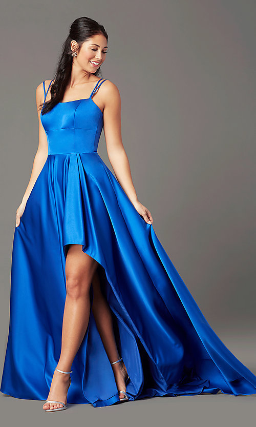 Image of open-back high-low formal prom dress by PromGirl. Style: PG-F2018 Detail Image 1