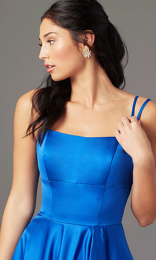 Image of open-back high-low formal prom dress by PromGirl. Style: PG-F2018 Detail Image 3