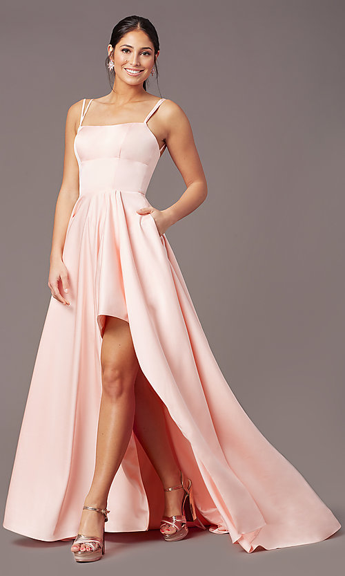 Image of open-back high-low formal prom dress by PromGirl. Style: PG-F2018 Front Image