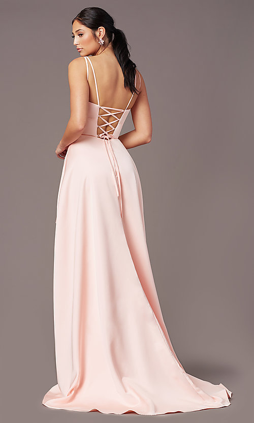 Image of open-back high-low formal prom dress by PromGirl. Style: PG-F2018 Back Image