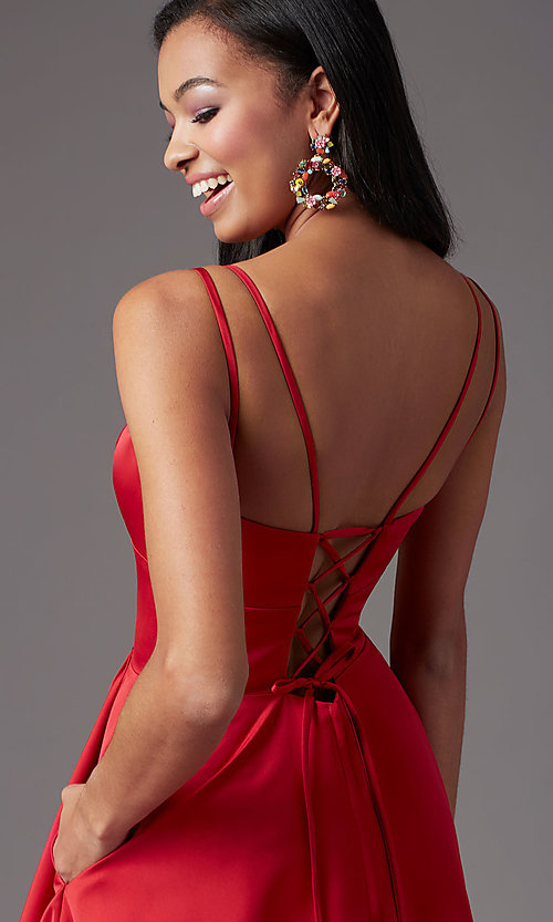 Image of open-back high-low formal prom dress by PromGirl. Style: PG-F2018 Detail Image 7