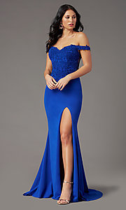 Image of off-shoulder long prom dress by PromGirl. Style: PG-F2022 Back Image