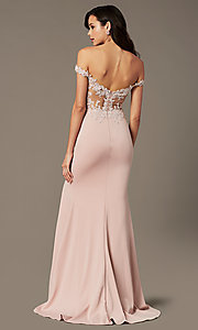 Image of off-shoulder long prom dress by PromGirl. Style: PG-F2022 Front Image
