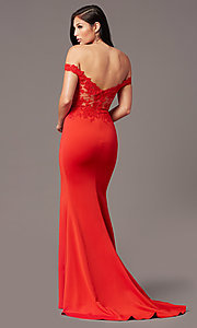Image of off-shoulder long prom dress by PromGirl. Style: PG-F2022 Detail Image 5