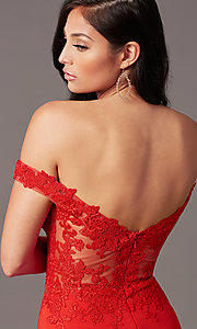 Image of off-shoulder long prom dress by PromGirl. Style: PG-F2022 Detail Image 6
