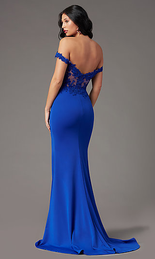 Off-Shoulder Long Prom Dress by PromGirl