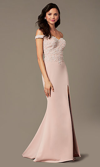 Off Shoulder Long Prom Dress by PromGirl