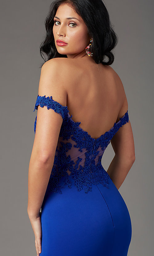 Image of off-shoulder long prom dress by PromGirl. Style: PG-F2022 Detail Image 1