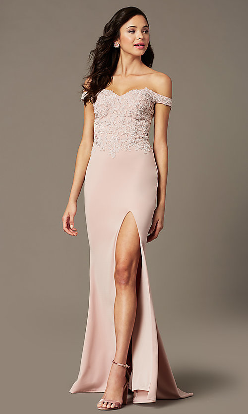 Image of off-shoulder long prom dress by PromGirl. Style: PG-F2022 Detail Image 3