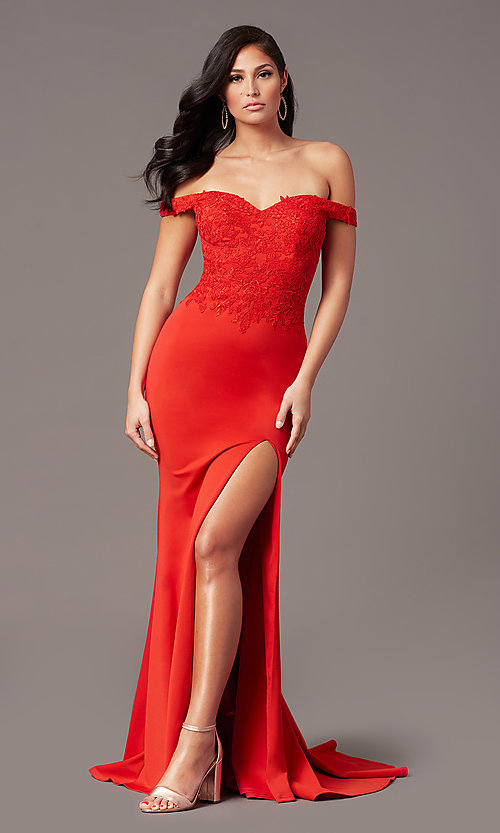 Image of off-shoulder long prom dress by PromGirl. Style: PG-F2022 Detail Image 4