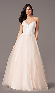 Image of long embroidered-bodice prom dress by PromGirl. Style: PG-F2027 Detail Image 8
