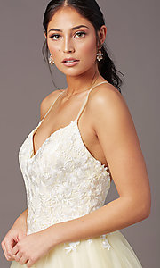 Image of long embroidered-bodice prom dress by PromGirl. Style: PG-F2027 Detail Image 5