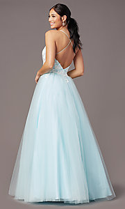 Image of long embroidered-bodice prom dress by PromGirl. Style: PG-F2027 Back Image