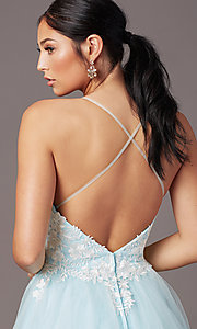 Image of long embroidered-bodice prom dress by PromGirl. Style: PG-F2027 Detail Image 1
