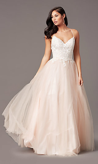 Long Embroidered-Bodice Prom Dress by PromGirl