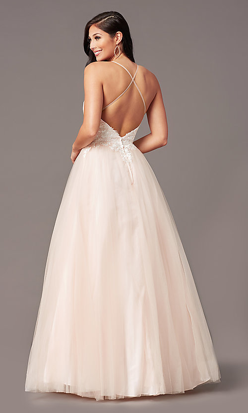 Image of long embroidered-bodice prom dress by PromGirl. Style: PG-F2027 Detail Image 7