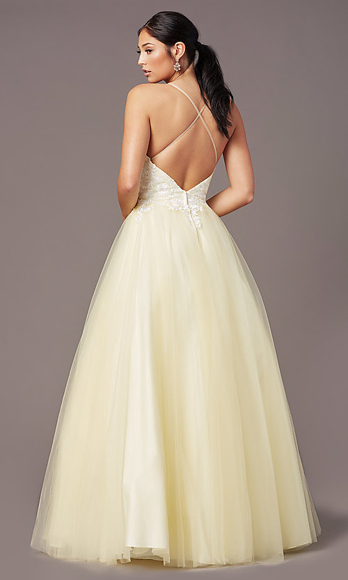 Image of long embroidered-bodice prom dress by PromGirl. Style: PG-F2027 Detail Image 4