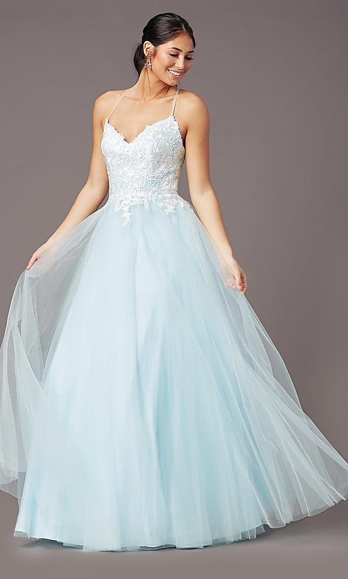 Image of long embroidered-bodice prom dress by PromGirl. Style: PG-F2027 Front Image