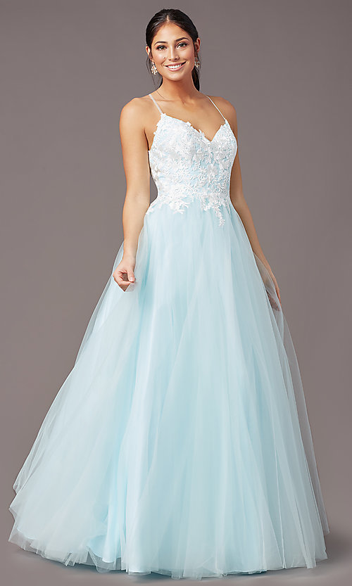 Image of long embroidered-bodice prom dress by PromGirl. Style: PG-F2027 Detail Image 2