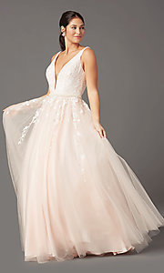 Image of long deep-v-neck prom ball gown by PromGirl. Style: PG-F2028 Front Image