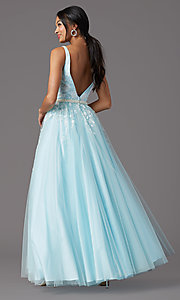 Image of long deep-v-neck prom ball gown by PromGirl. Style: PG-F2028 Detail Image 7