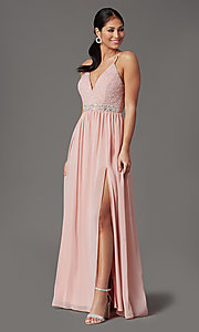 Image of racerback long prom dress in rose pink.  Style: EM-ACM-3282-630 Front Image