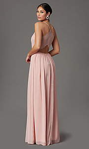 Image of racerback long prom dress in rose pink.  Style: EM-ACM-3282-630 Back Image