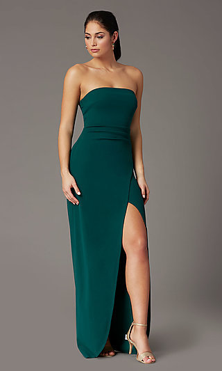 Strapless Spruce Green Formal Prom Dress with Slit