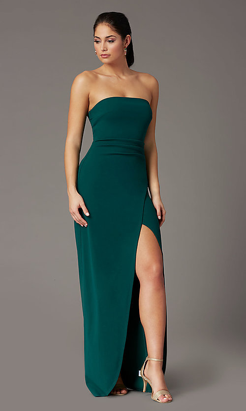 Image of strapless spruce green formal prom dress with slit. Style: EM-ABE-3405-387 Front Image