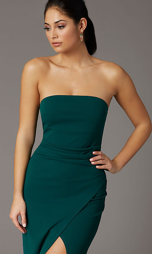 Image of strapless spruce green formal prom dress with slit. Style: EM-ABE-3405-387 Detail Image 1