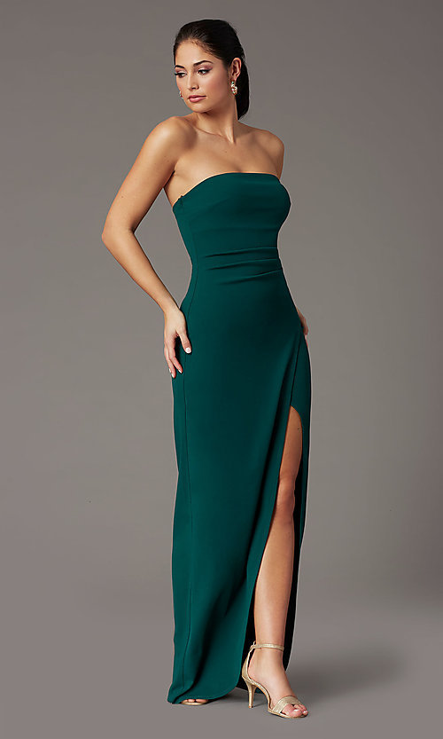 Image of strapless spruce green formal prom dress with slit. Style: EM-ABE-3405-387 Detail Image 2