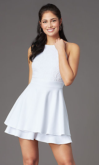 Short Lace Bodice Graduation Party Dress