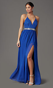 Image of cobalt blue long prom dress with glitter lace. Style: EM-ACS-3662-432 Front Image
