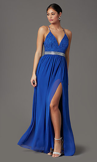 Cobalt Blue Long Prom Dress with Glitter Lace