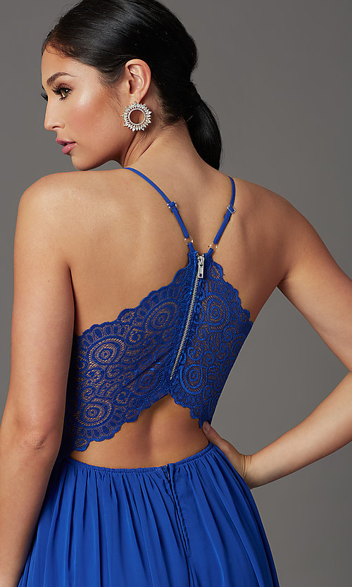 Image of cobalt blue long prom dress with glitter lace. Style: EM-ACS-3662-432 Detail Image 1
