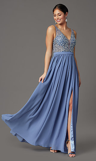 Beaded-Bodice Long Sleeveless Prom Dress