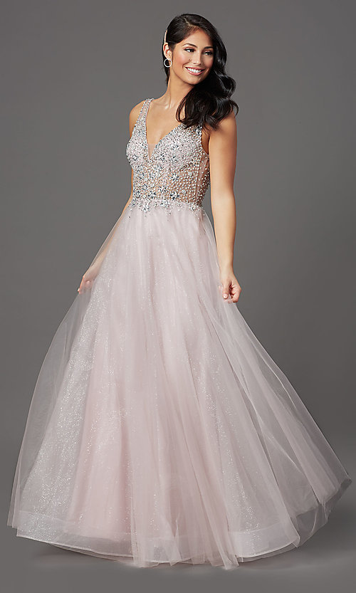 Image of mauve pink long prom dress with sequined bodice. Style: SOI-W19266 Front Image