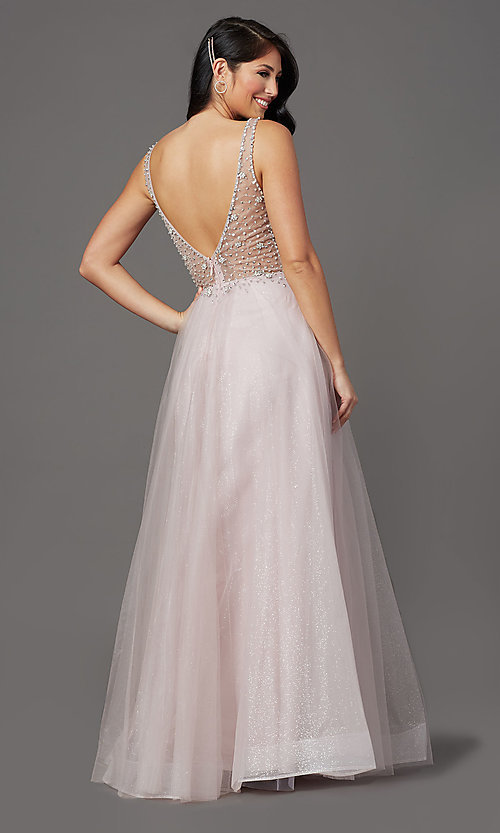 Image of mauve pink long prom dress with sequined bodice. Style: SOI-W19266 Back Image