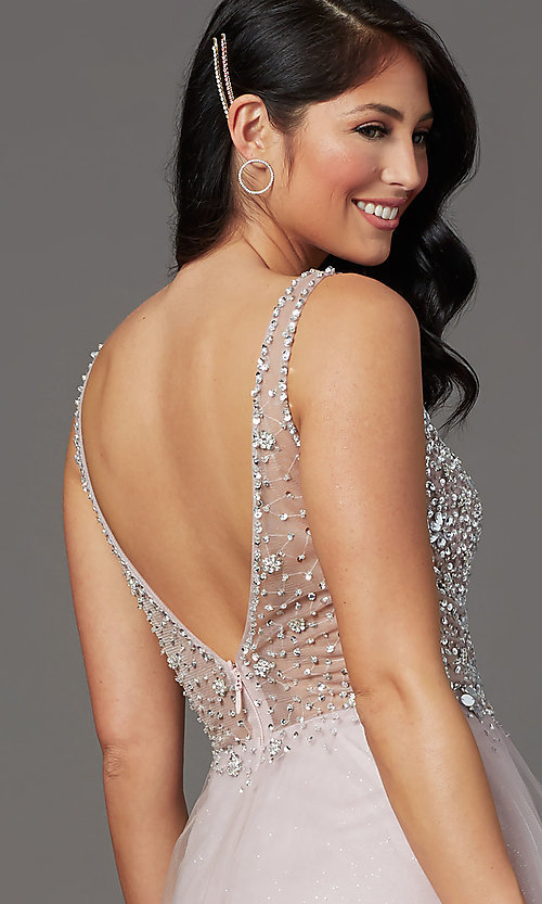 Image of mauve pink long prom dress with sequined bodice. Style: SOI-W19266 Detail Image 2