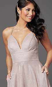Image of v-neck glitter long prom dress with pockets. Style: SOI-W19290 Detail Image 1