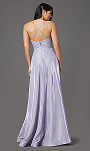 Image of v-neck glitter long prom dress with pockets. Style: SOI-W19290 Detail Image 7
